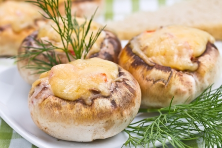 Stuffed mushrooms with cheese and dill and bread
