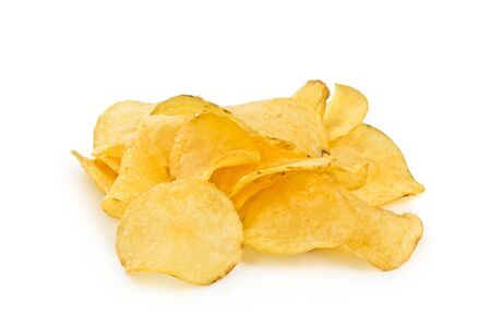 crispy potato chips isolated on white background photo