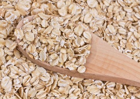 oat flakes on a wooden spoon Stock Photo - 17333245