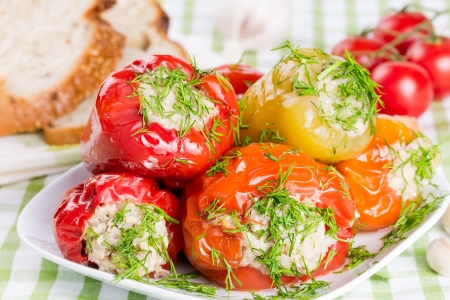 Stuffed red and green peppers on a white plate