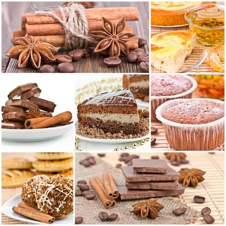 Collage of dessert  Chocolate cake, cookies, cake and tea  Stock Photo