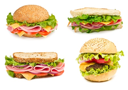 Collage of sandwiches with ham and vegetables isolated on a white background Фото со стока