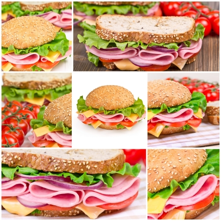 Collage of sandwiches with ham and vegetables photo