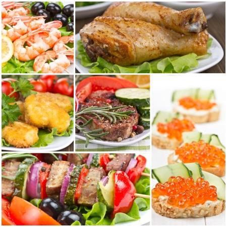 sandwich au poulet: Collage de nourriture - la viande, des crevettes, du poulet, sandwich Banque d'images