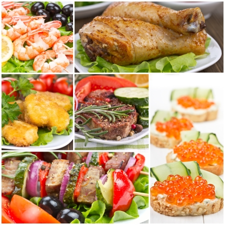 Collage of food - meat, shrimp, chicken, sandwich