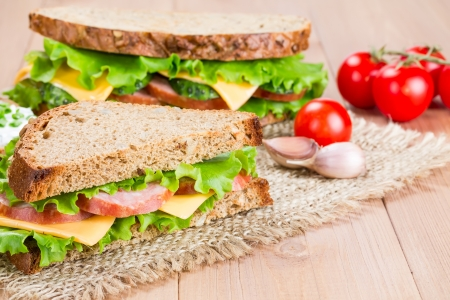 Sandwich with ham, cheese and fresh cucumber