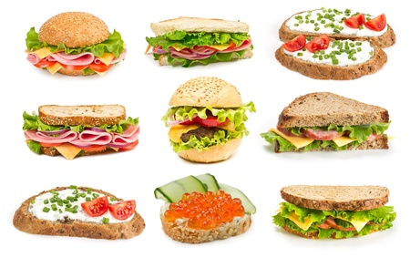 Collage of sandwiches isolated on a white background photo