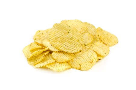 grooved: Grooved potato chips isolated on white background