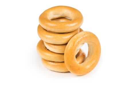 boublik: Several dry bagels isolated on white background