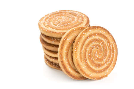Crunchy biscuits isolated on a white background