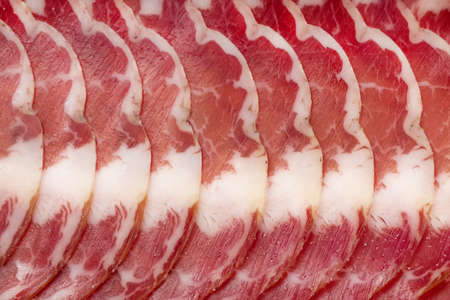 thinly: Thinly sliced ham and sprinkle with salt