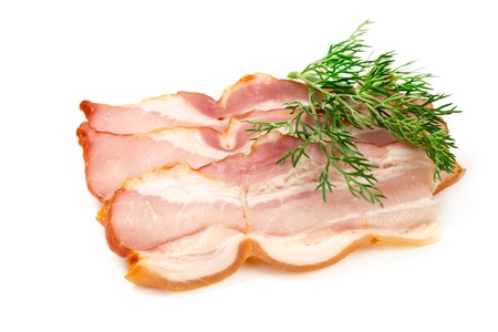 A piece of pork ham isolated on white background photo