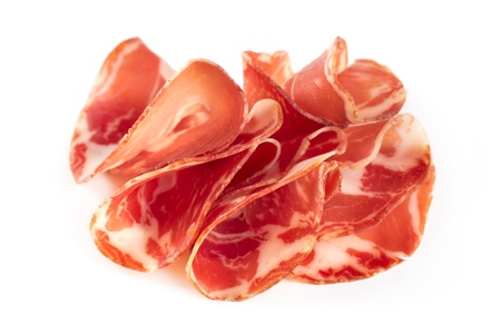 thinly: Thinly sliced ham isolated on white background  Stock Photo