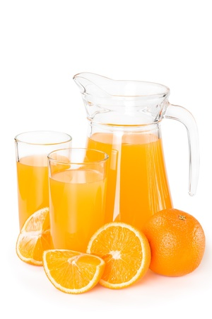 Orange juice in a glass jar isolated on white background photo