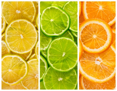 Background with citrus-fruit of lime  lemon and orange slices photo