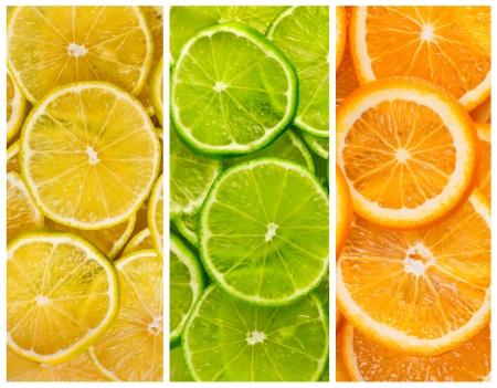 citricos: Fondo con cítricos de limón y rodajas de naranja