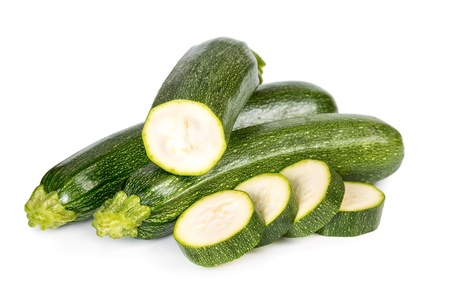 Zucchini with sliced isolated on a white background