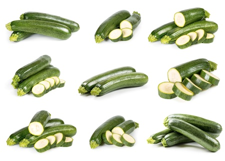Set of zucchini with sliced isolated on a white background