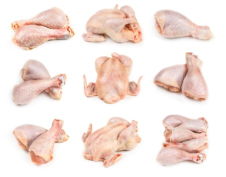 Set of raw chicken legs and whole chicken isolated on white background