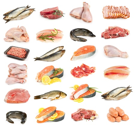 carne de pollo: Juego de carne, pollo y pescado aislado en fondo blanco