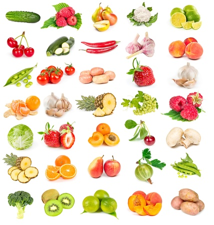 Set of fresh vegetables and fruits isolated on white background photo
