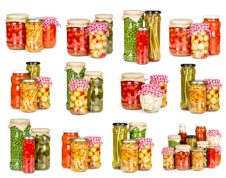 Set of canned vegetables isolated on white background photo