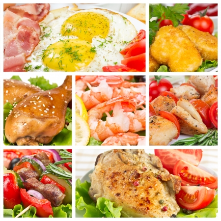 Set of food with meat, chicken and shrimp Stock Photo