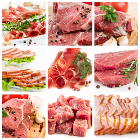 beef meat: Set of different raw meat and ham Stock Photo