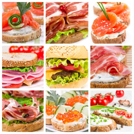 Set of sandwiches with ham, smoked salmon and caviar