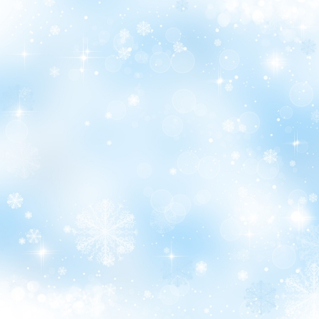 Abstract christmas background with snowflakes in winter photo