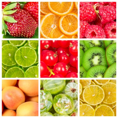 Collage of fresh summer fruits and berries photo