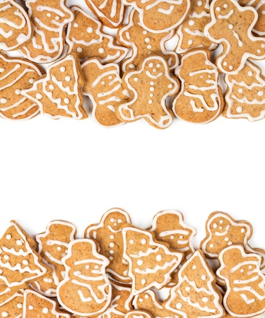 homemade cookies: Christmas cookies different form on a white background