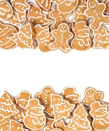 galletas de navidad: Galletas de Navidad forma diferente sobre un fondo blanco Foto de archivo