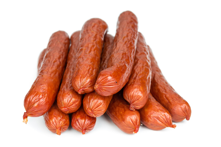 Bavarian sausages isolated on white background, close-up photo