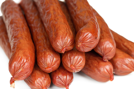 Bavarian sausages isolated on white background, close-up Stock Photo - 22622943