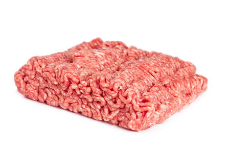Pork and beef mince isolated on white background photo