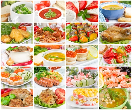 Collage of various tasty and wholesome food photo