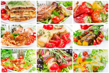 Collage de los alimentos para el almuerzo y la cena photo