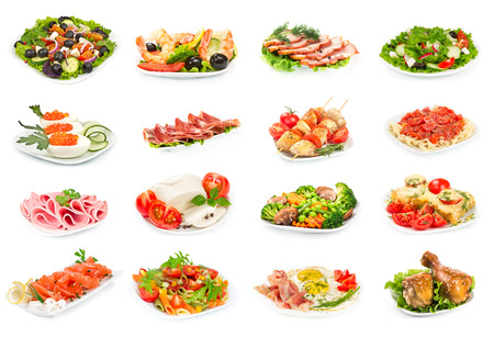 Set of food on the plate isolated on white background photo