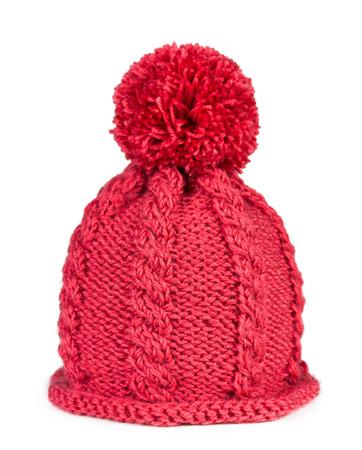 woolen fabric: Sombrero hecho punto con un pomp�n aisladas sobre fondo blanco
