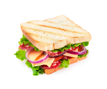 Sandwich with sausage isolated on white background photo