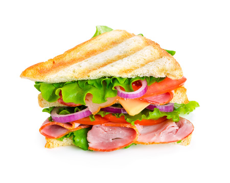 Sandwich with ham isolated on white background photo