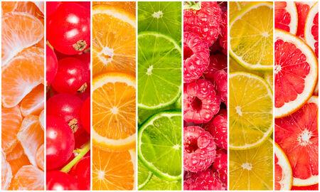 감귤류의 과일: 세로 줄무늬의 형태로 신선한 여름 과일의 콜라주
