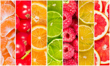 Collage of fresh summer fruit in the form of vertical stripes photo