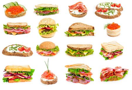 サンドイッチ、白い背景で隔離のコラージュ