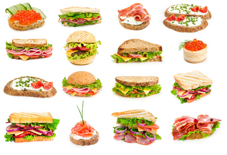 jamon y queso: Collage de sándwiches aislado en un fondo blanco