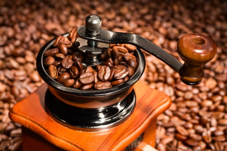 Coffee beans in a coffee-mill. Close up. photo