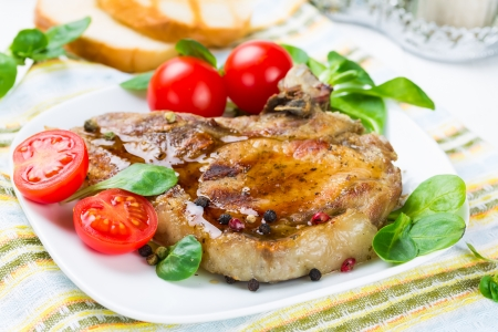 Grilled meat with tomato and corn salad Stock Photo - 25238271