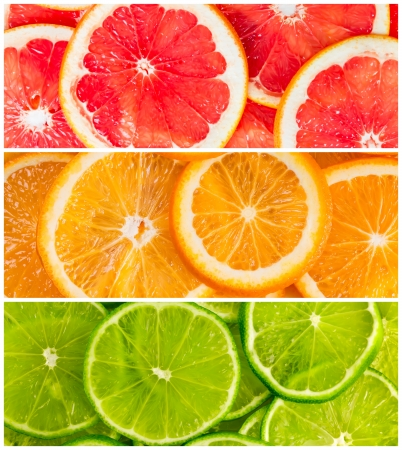 Background with citrus-fruit of lime, grapefruit and orange slices