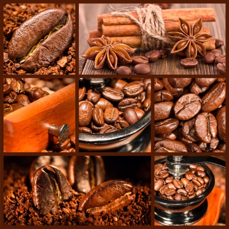 Collage of coffee. Coffee antique grinder, coffee beans, chocolate and cinnamon. photo